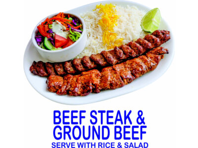 Beef Steak And Ground Beef Kebab Burnaby BC Mr Greek Donair near Burnaby BC