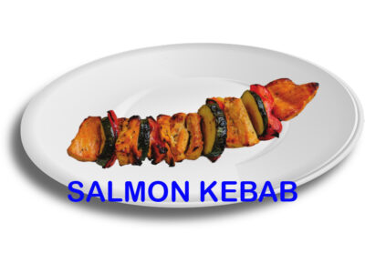 Salmon Fish Kebab Skewer Burnaby BC Mr Greek donair near Burnaby BC